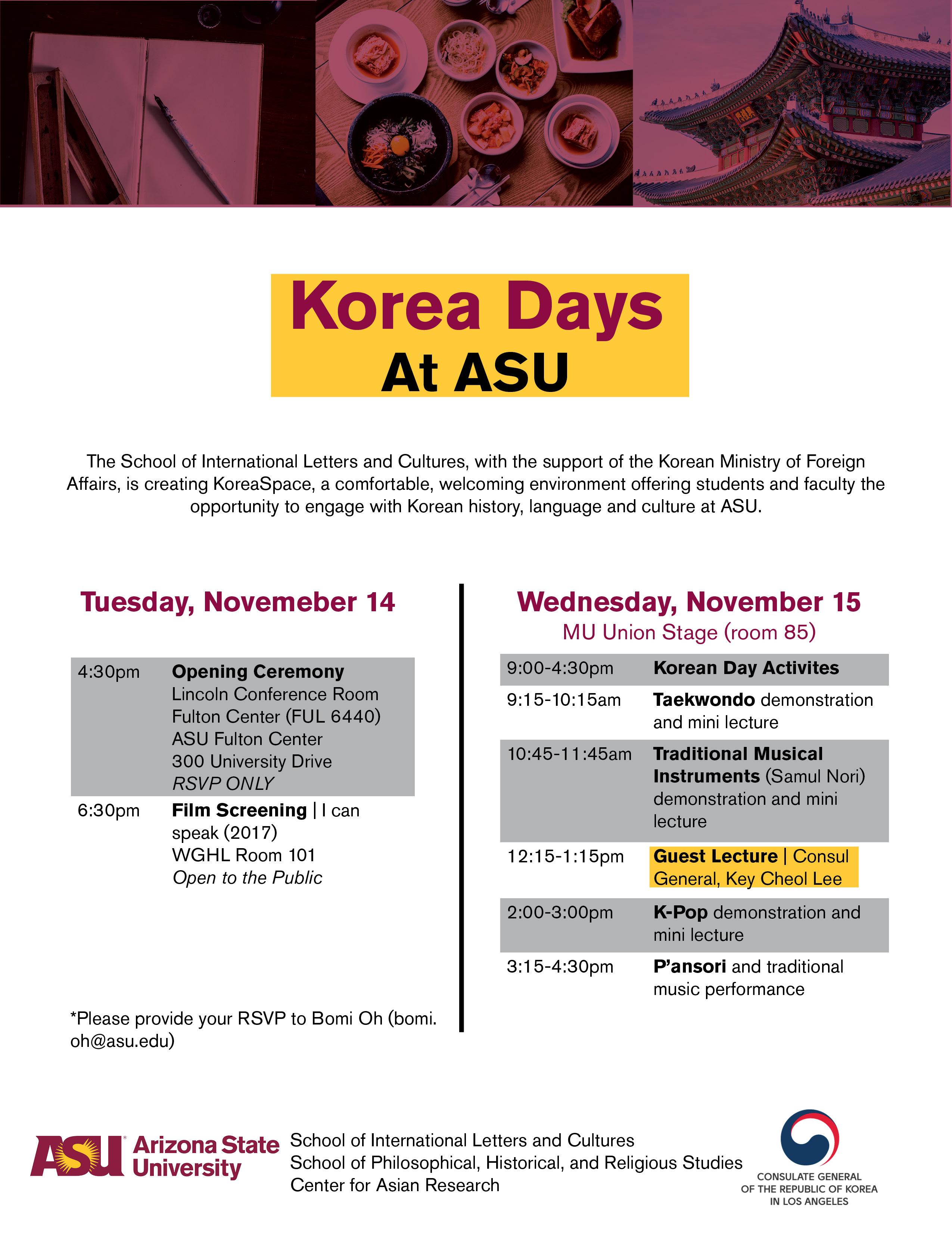 Korea Days At Asu Asu Events