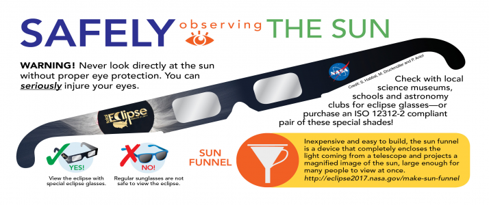 Check with local science museums, schools and astronomy clubs for eclipse glasses—or purchase an ISO 12312-2 compliant and CE certified pair of these special shades!