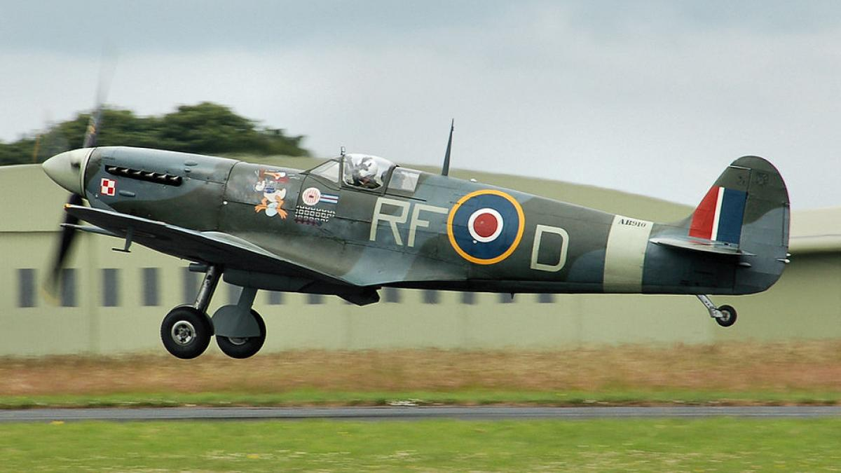 British Spitfire aircraft takes off.
