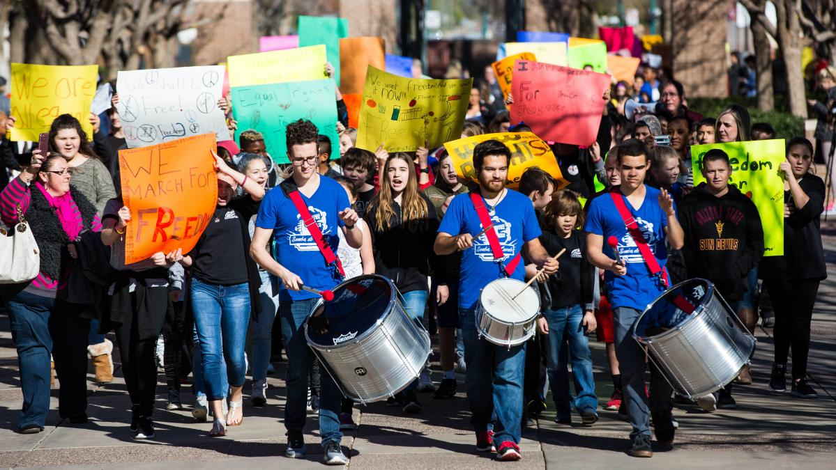Students participating in the MLK March on West