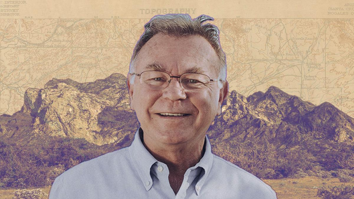 Edited image of Alberto Ríos in front of a mountain range with a map of the Sonoran Desert in the background