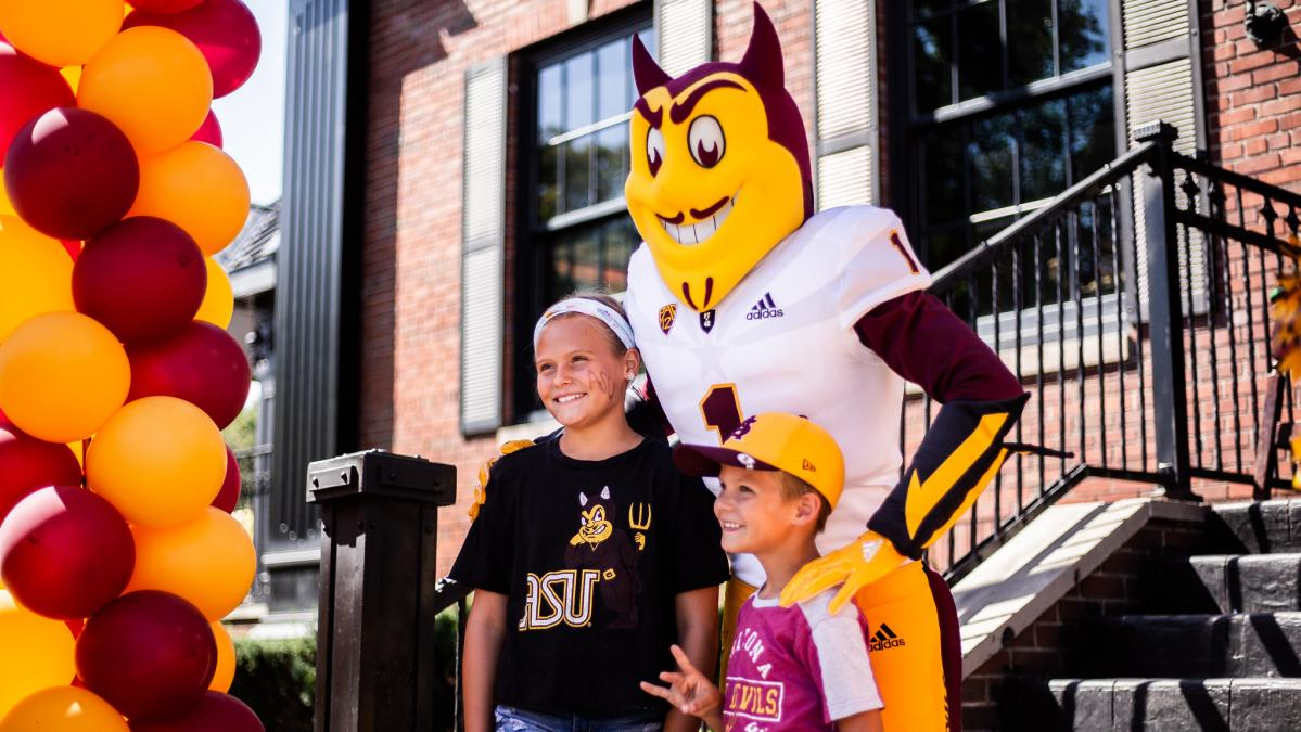 Young Sun Devils with Sparky