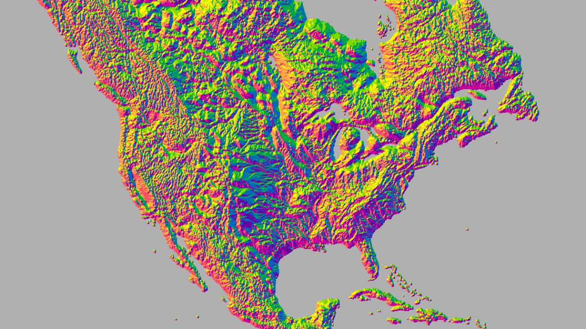 Image of Aspect features of North America in ArcGIS Online