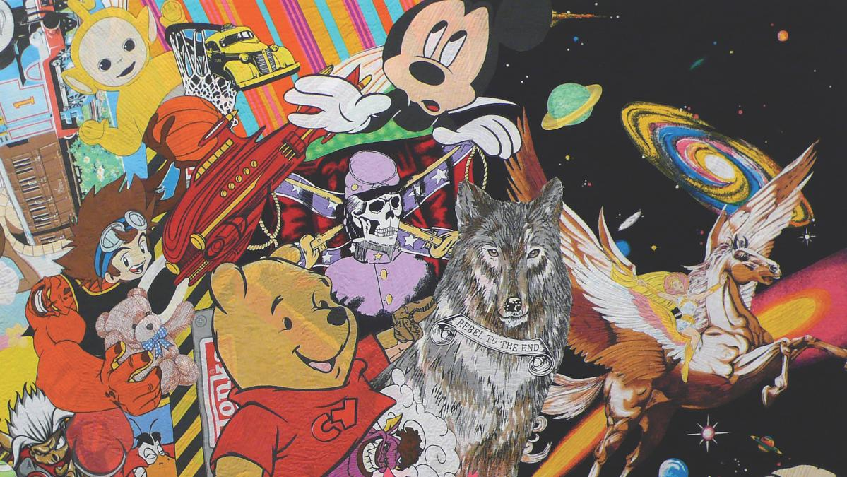 This textile work by Ai Kijima depicts cartoon characters and centers on an image of a wolf with the words rebel to the end