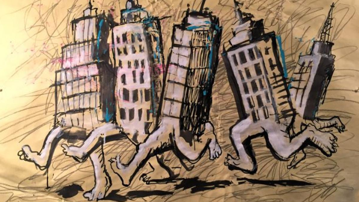 painting by artist Jeff Del Nero of city high-rise buildings with legs