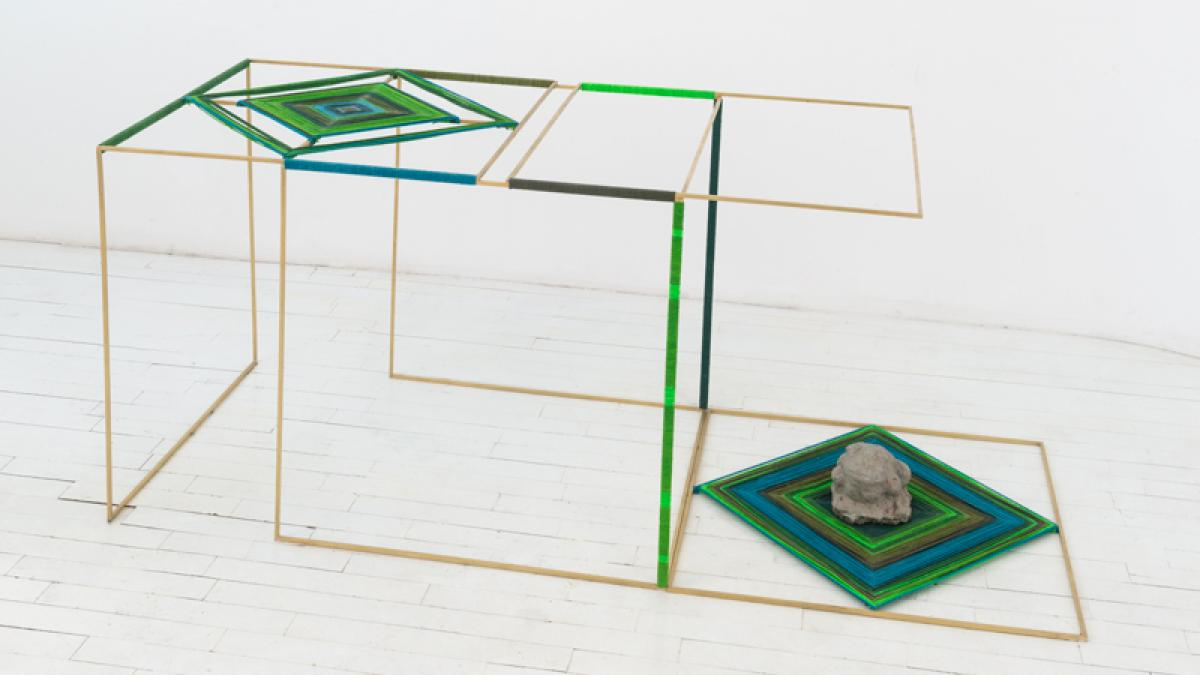 "Image credit: Claudia Peña Salinas, ""Cueyatl,"" 2017, Brass, dyed cotton, concrete frog, 24 1/2 x 24 x 61 inches, Collection of Ignacio Lopez & Laura Guerra, Photo by Adam Reich, Courtesy of the artist and Embajada, San Juan."