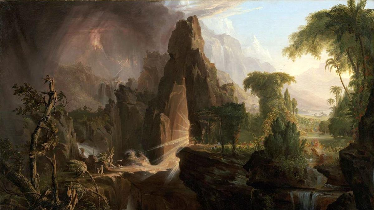 """Expulsion from the Garden of Eden"" by Thomas Cole, 1828. Public domain image from Wikimedia Commons."