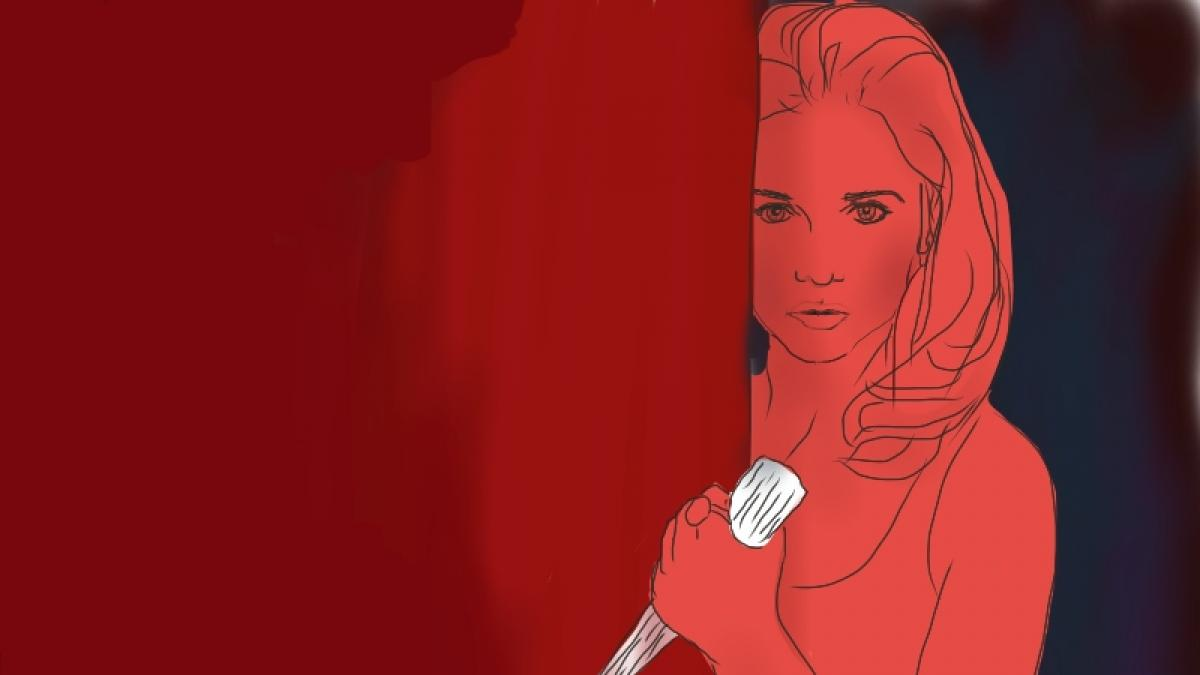 Image of Buffy the Vampire Slayer wielding a stake against a red background