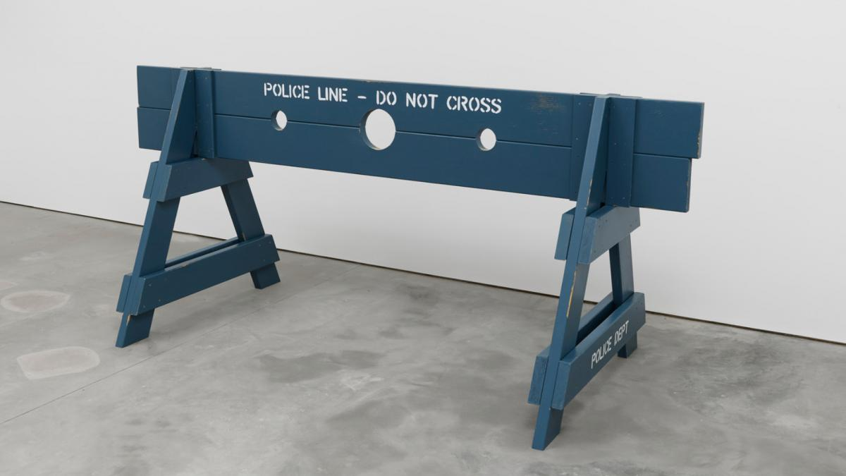 """Image credit: Hugh Hayden, """"Pillory,"""" 2020. Milk paint on cedar with stainless steel hardware and locks, 44 x 96 x 42 inches."""