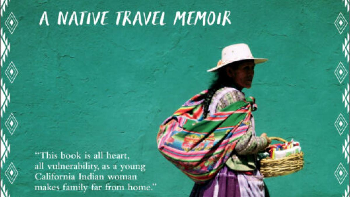Indigenous Woman walking with basket on book cover.