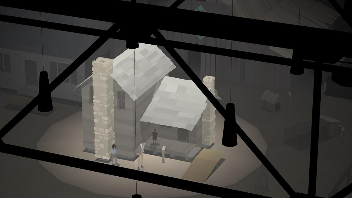 A screenshot from the video game Kentucky Route Zero, showing a cabin, viewed from above, under a floodlight in what looks to be a museum or gallery space. In the foreground, we can see shadowy beams holding up lighting.