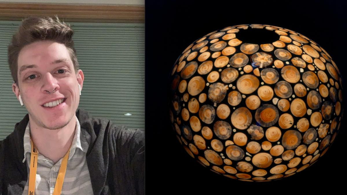 "Image credit: Windgate Curatorial Intern Kevin Cline (left). Philip C. Moulthrop, ""White Pine Mosaic Bowl,"" 1992, White pines with epoxy. Purchased with funds provided by the American Art Heritage Fund (right)."