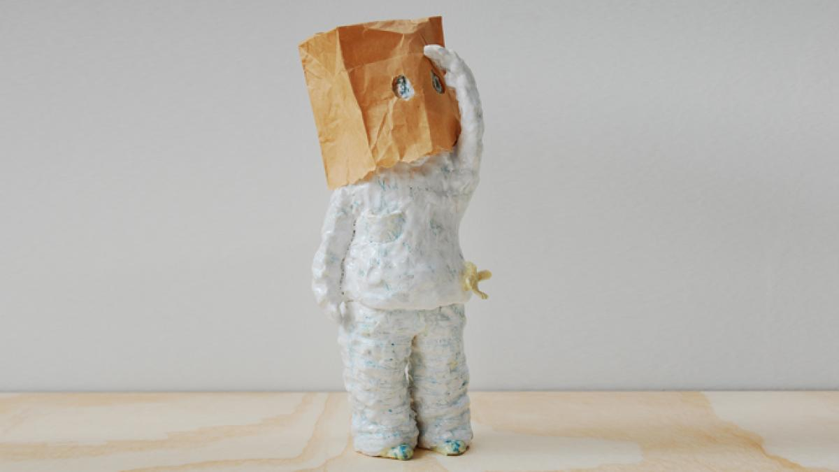 "Image credit: Kumie Tsuda, ""I can't say who I am,"" Ceramic and paper bag, 15 3/8 x 6 1/4 x 7 1/8 inches, 2013, Courtesy of artist and Rena Bransten Gallery."