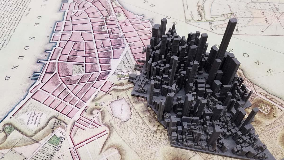 Lower Manhattan 3D Printed Model Atop Historic Map