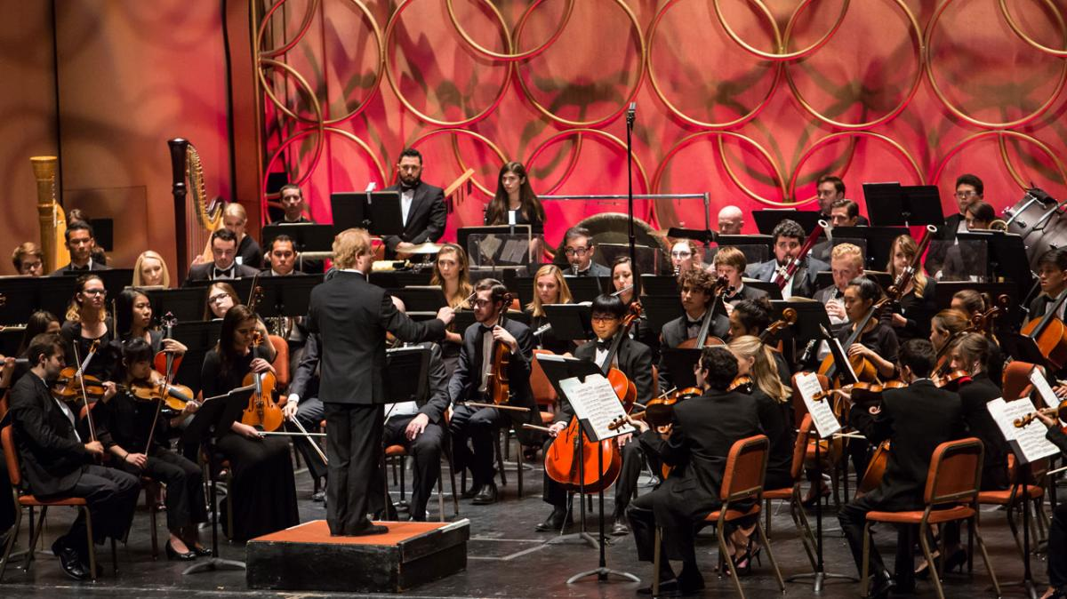 Photo of the ASU Symphony Orchestra with Jeffery Meyer conducting
