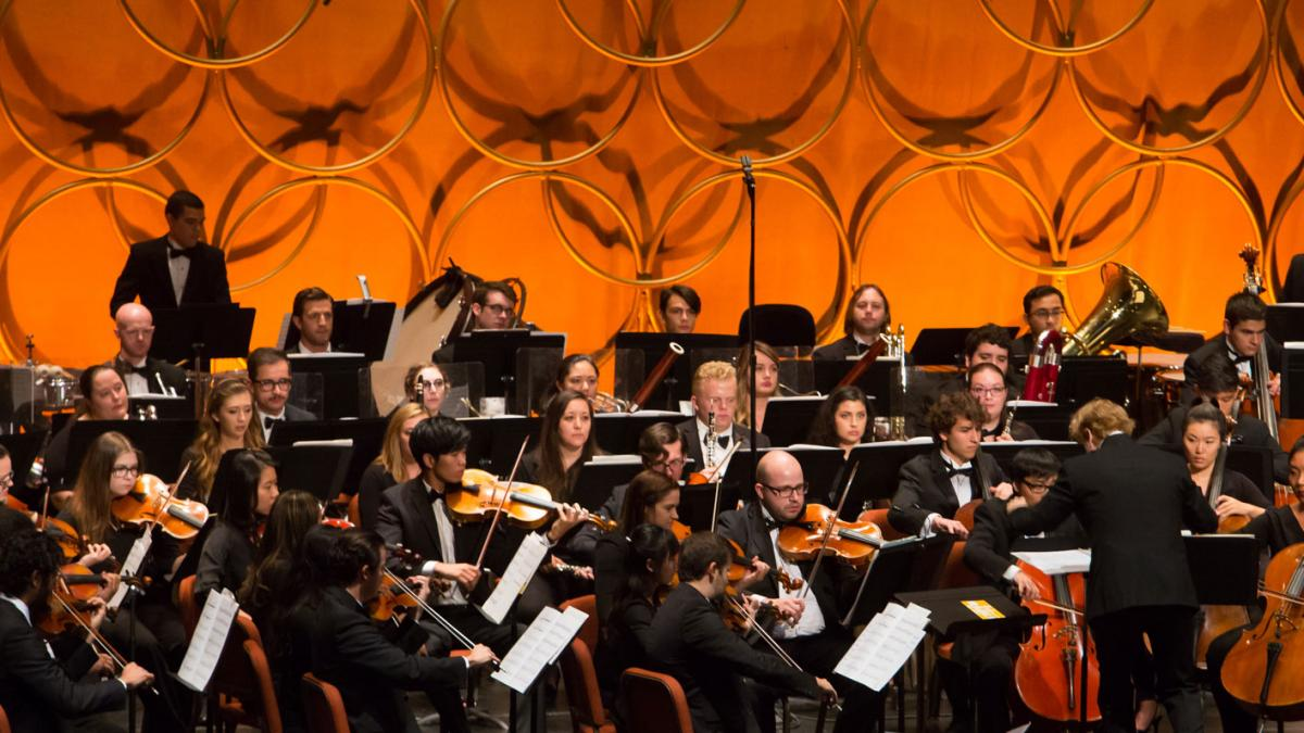 Stock photo of a group of performers in the ASU Symphony Orchestra