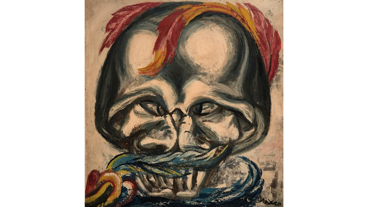 "Image credit: José Clemente Orozco, ""Skull with Feathers,"" 1947, Pyroxylin on Masonite, 48 × 45 in. Courtesy of the Orozco Family."