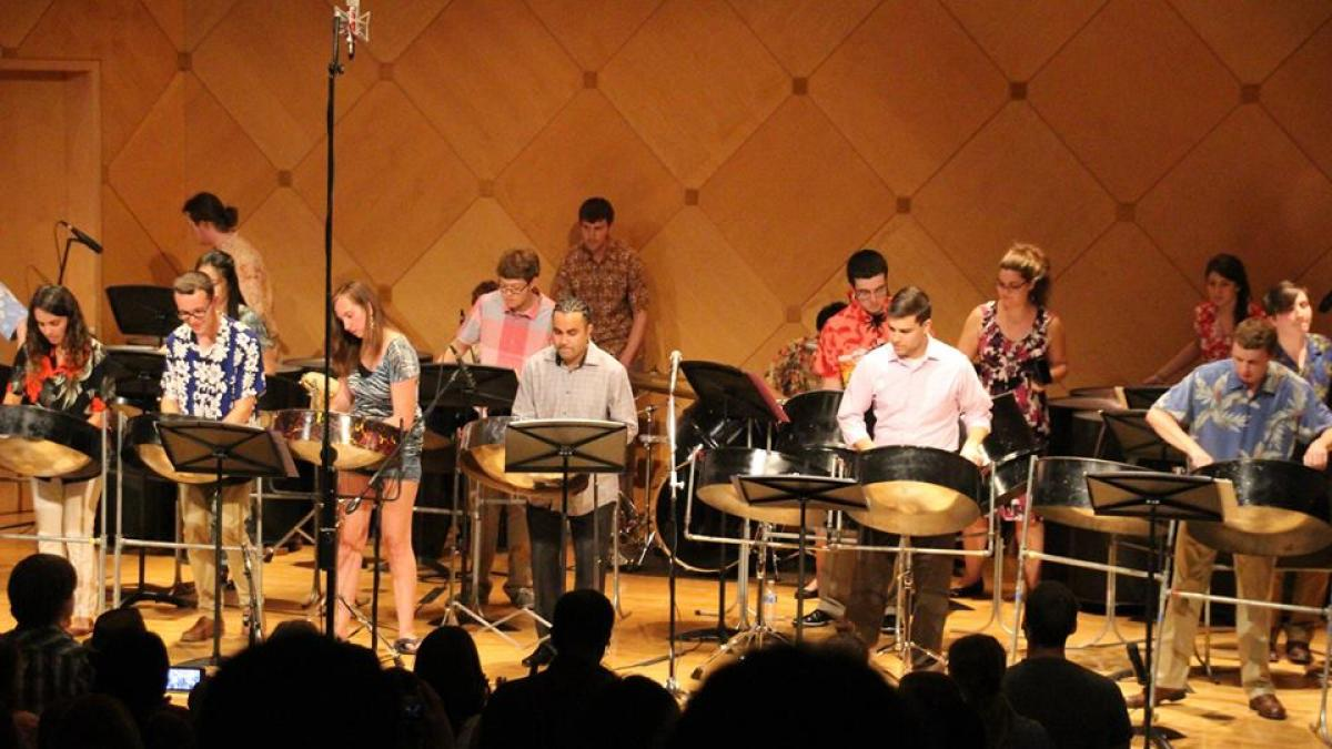 Photo of an ASU Pan Devils Steel Band performance
