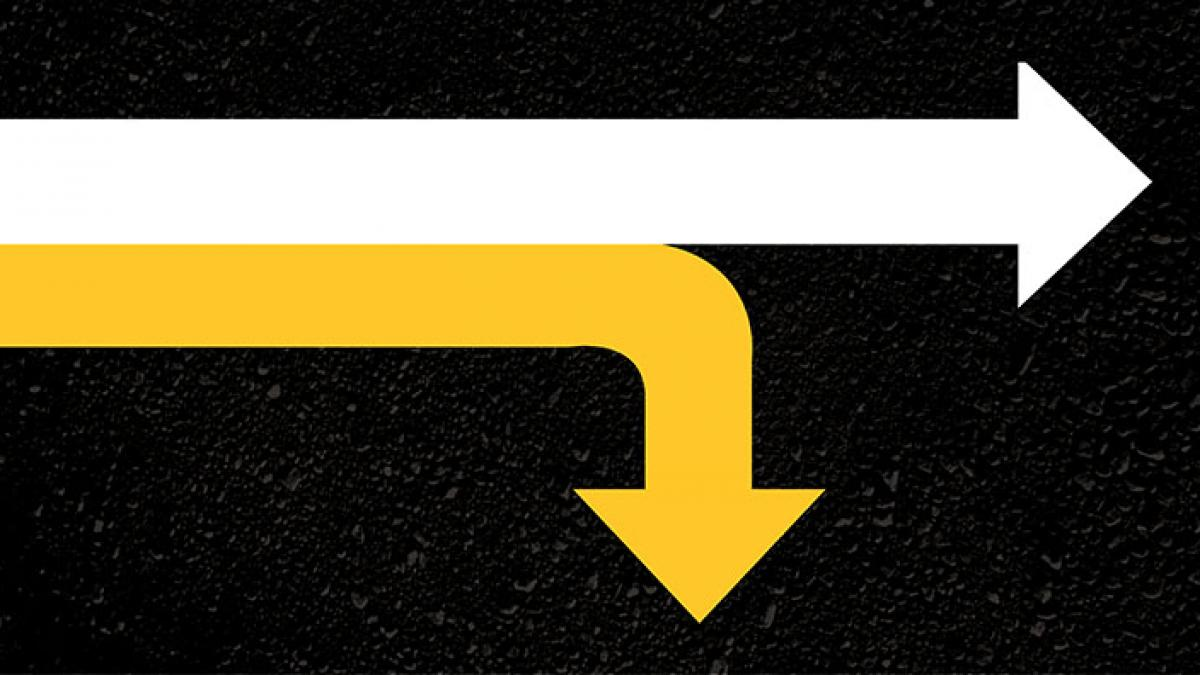 Two arrows pointing in different directions