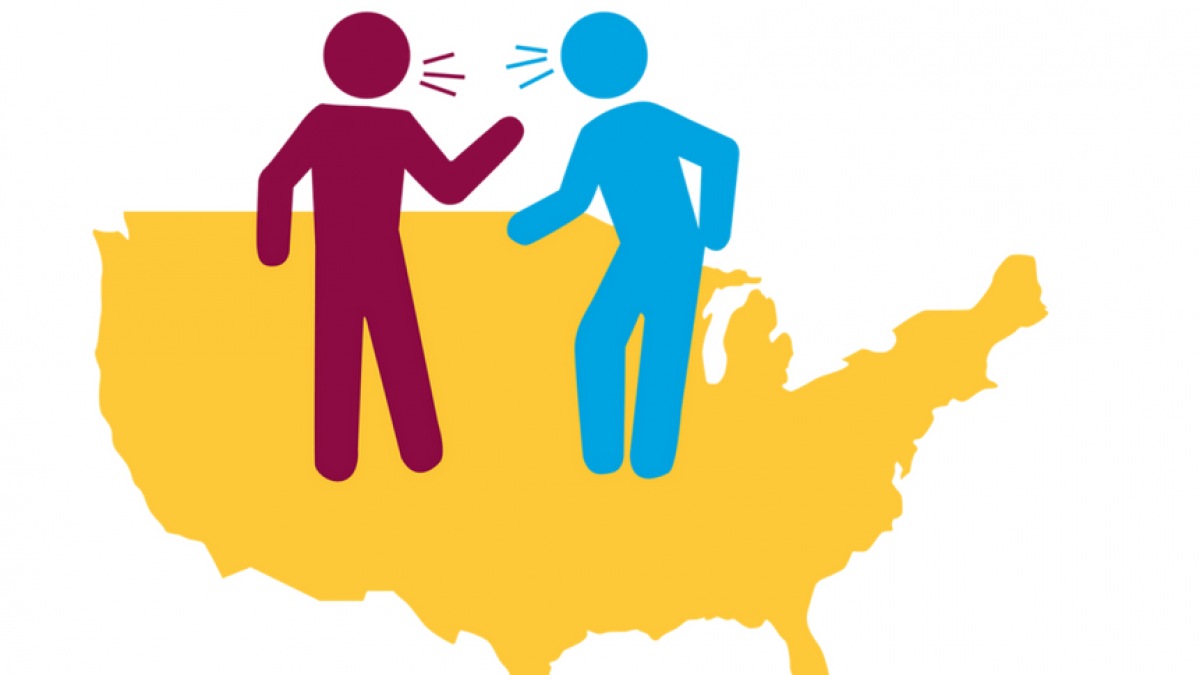 two stick figure illustrations arguing with a outline of the US in the background