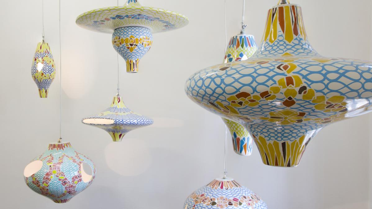 Seven hand-painted ceramic light fixtures, dimensions variable are part of this artwork by Jorge Pardo