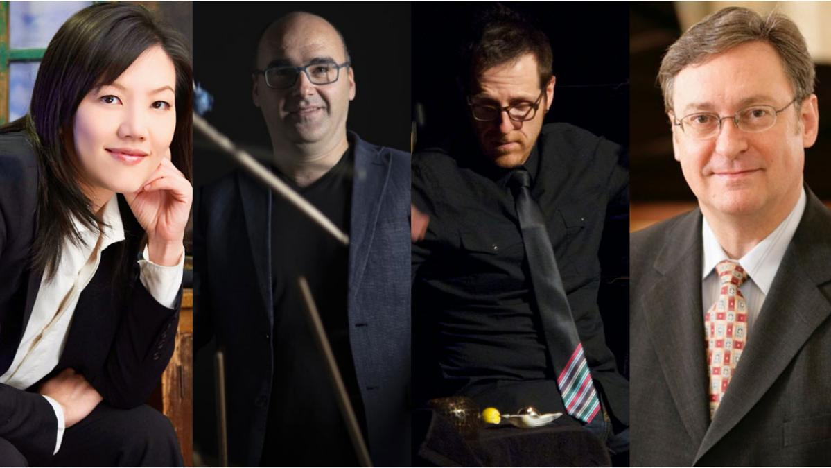 Photos of  Sunny Kuo (piano), Simone Mancuso (percussion), Morris Palter (percussion, U of A) and Russell Ryan (piano)