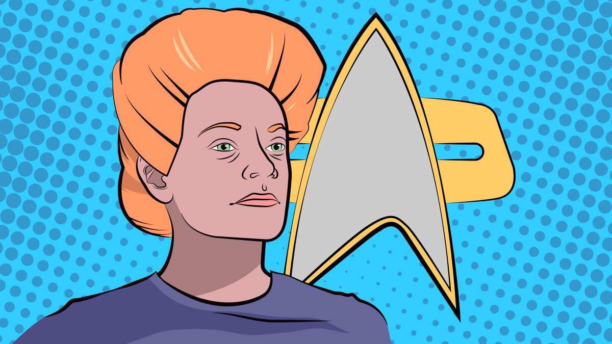 Pop Art-style image of a character from the Star Trek: Deep Space Nine episode Sanctuary, featuring a woman in profile and a Starfleet insignia.