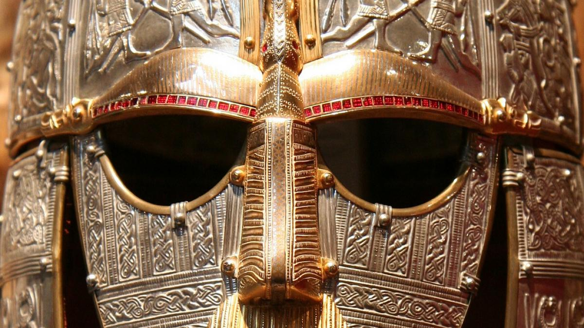 Replica of the helmet from the Sutton Hoo ship-burial 1, England. Face-mask in British Museum. Photo by Flickr user IH used under CC 2.0.