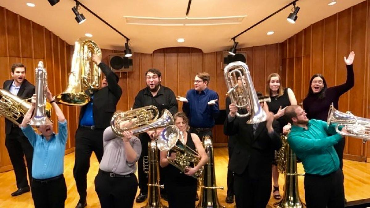 Photo of the students in the tuba and euphonium studio