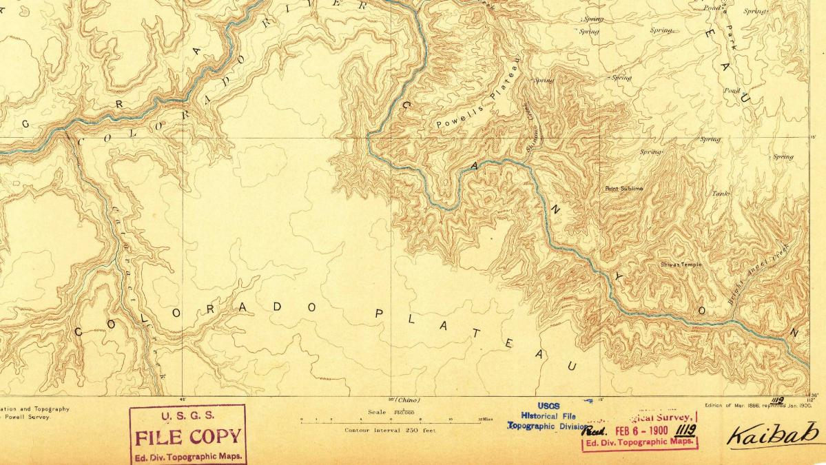 Image of topographic map of the Grand Canyon.